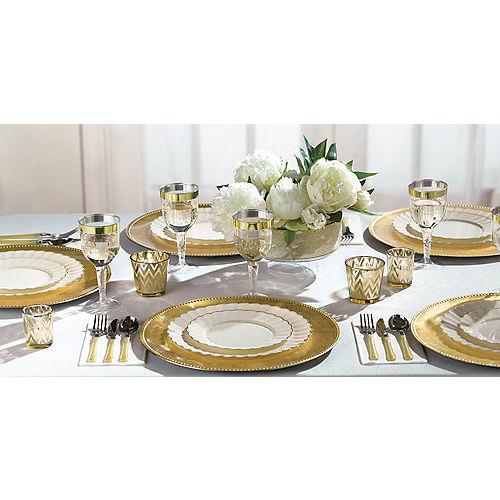 Cream Gold-Trimmed Premium Plastic Scalloped Dinner Plates 10ct Image #3
