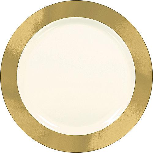 Cream Gold Border Premium Plastic Dinner Plates 10ct Image #1