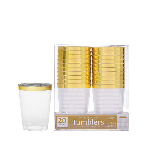 CLEAR Gold-Trimmed Premium Plastic Cups 20ct Image #1