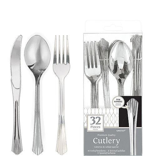 Silver Fan Handle Premium Plastic Cutlery Set 32ct Image #1