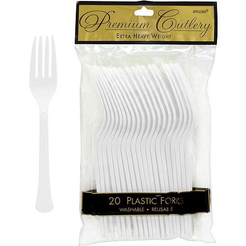 White Premium Plastic Forks 20ct Image #1