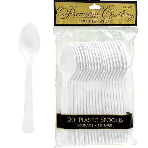 White Premium Plastic Spoons 20ct Image #1