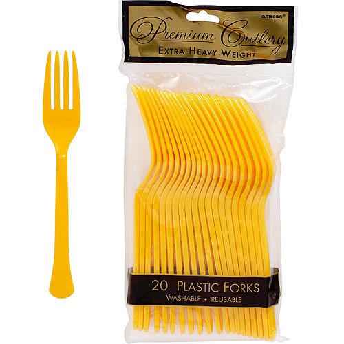 Sunshine Yellow Premium Plastic Forks 20ct Image #1