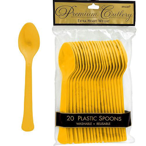 Sunshine Yellow Premium Plastic Spoons 20ct Image #1