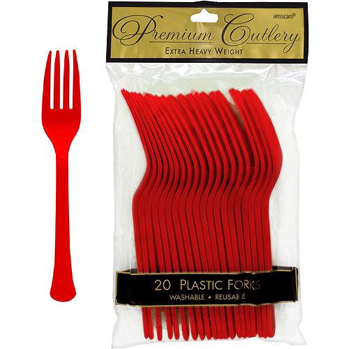 Red Premium Plastic Forks 20ct Image #1