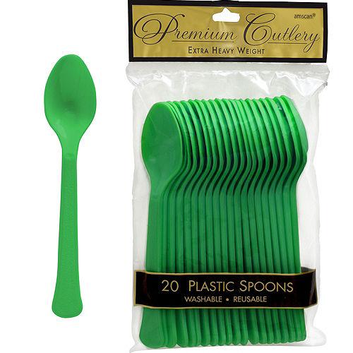 Festive Green Premium Plastic Spoons 20ct Image #1
