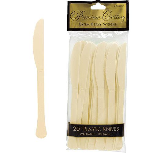Vanilla Cream Premium Plastic Knives 20ct Image #1