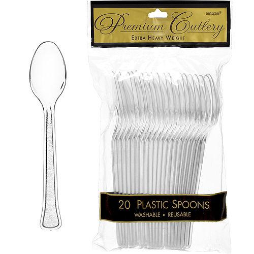 CLEAR Premium Plastic Spoons 20ct Image #1
