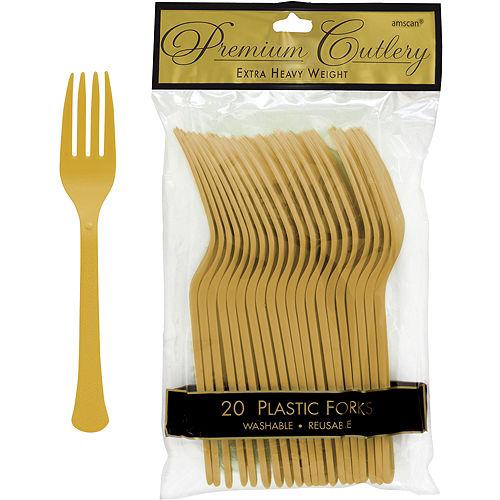 Gold Premium Plastic Forks 20ct Image #1
