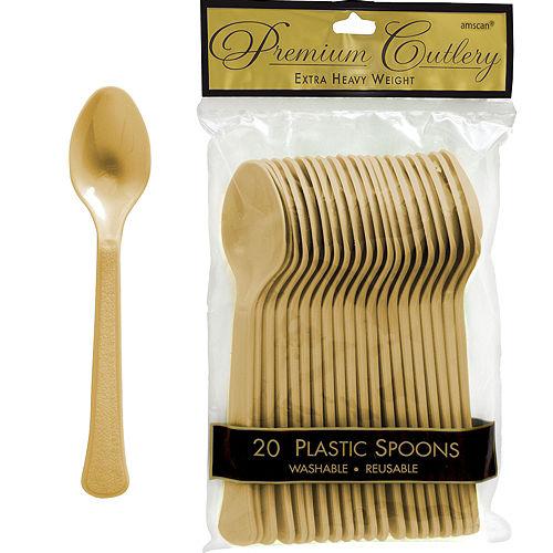 Gold Premium Plastic Spoons 20ct Image #1