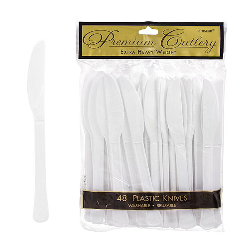 White Premium Plastic Knives 48ct Image #1