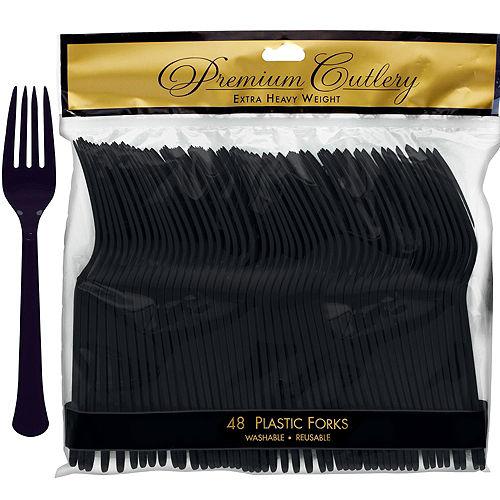 Black Premium Plastic Forks 48ct Image #1