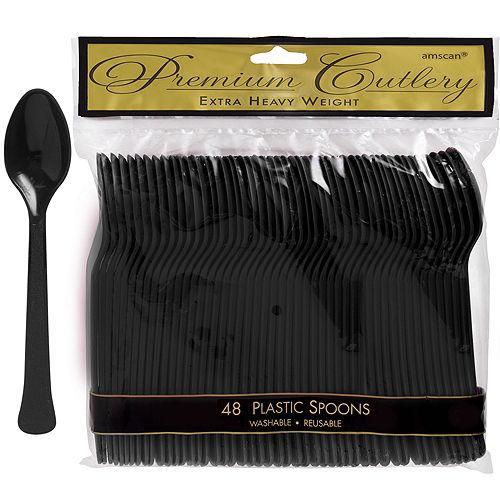 Black Premium Plastic Spoons 48ct Image #1