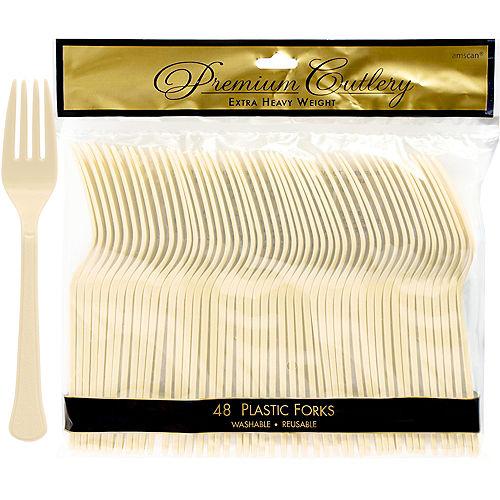 Vanilla Cream Premium Plastic Forks 48ct Image #1