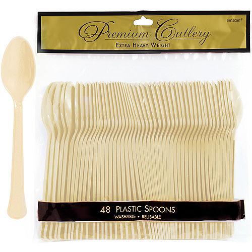 Vanilla Cream Premium Plastic Spoons 48ct Image #1