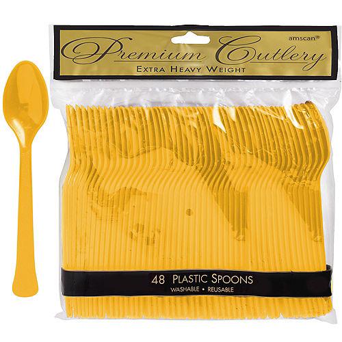 Sunshine Yellow Premium Plastic Spoons 48ct Image #1