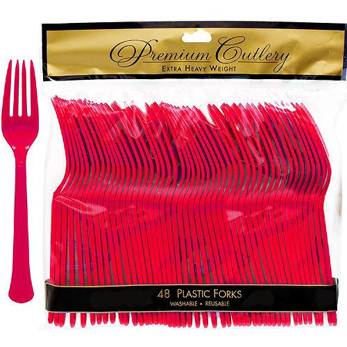 Red Premium Plastic Forks 48ct Image #1