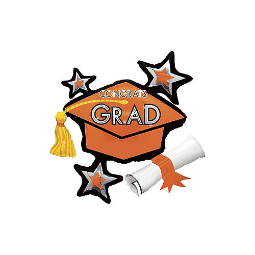 Orange Star Graduation Cap Balloon, 31in Image #1