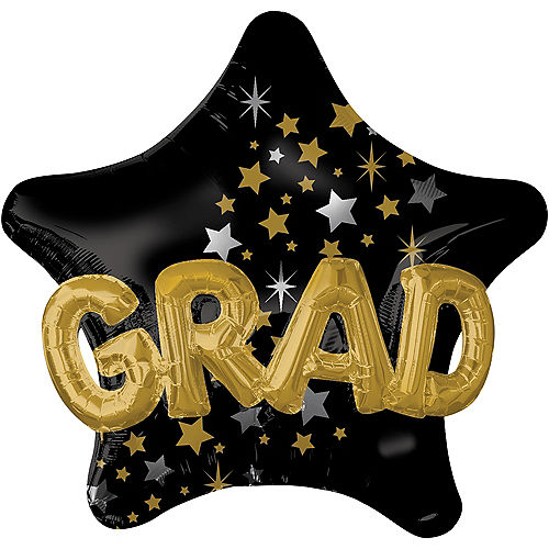 Graduation Balloon - 3D Black, Gold & Silver Star, 36in Image #1