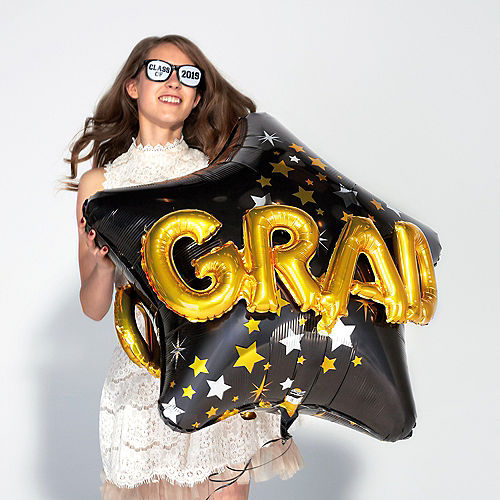 Graduation Balloon - 3D Black, Gold & Silver Star, 36in Image #2