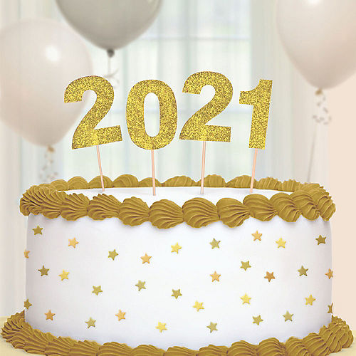 Tall Glitter Gold 2021 Party Picks, 4ct Image #1
