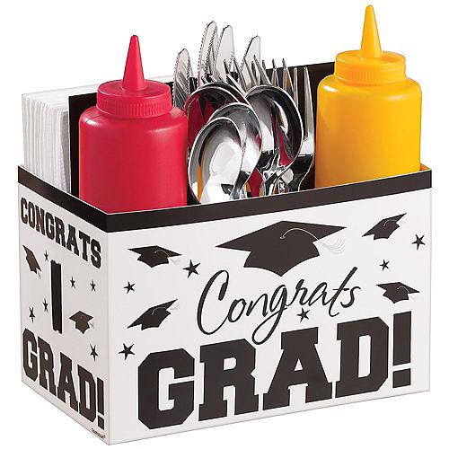 White Graduation Paper Utensil Caddy - Congrats Grad Image #1