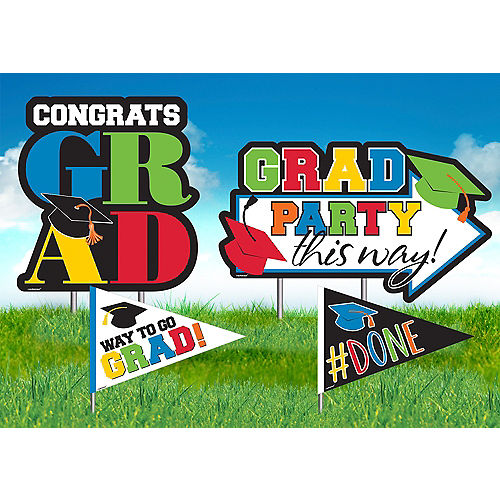 Multicolor Graduation Yard Stakes 4ct Image #1