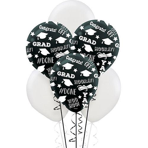 Black & White Graduation Balloons 15ct Image #1
