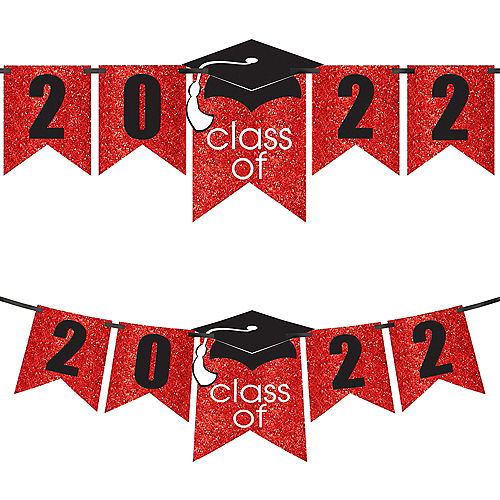 Glitter Red Graduation Year Banner Kit, 6.5ft - Congrats Grad Image #1