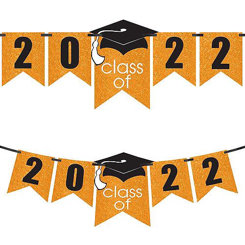 Glitter Orange Graduation Year Banner Kit, 6.5ft - Congrats Grad Image #1