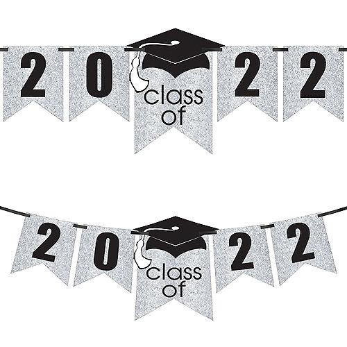 Glitter White Graduation Year Banner Kit, 6.5ft - Congrats Grad Image #1