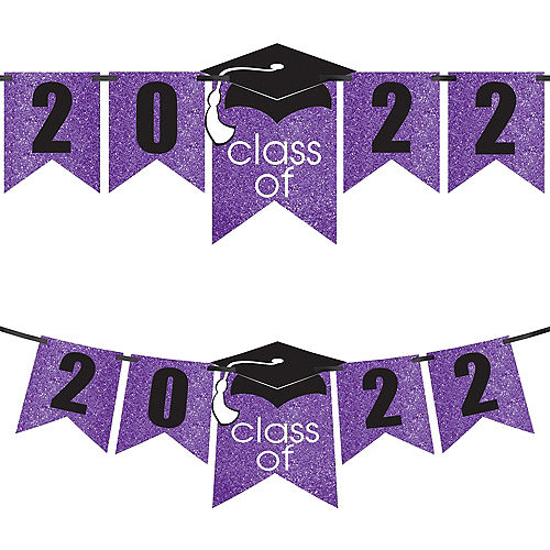 Glitter Purple Graduation Year Banner Kit, 6.5ft - Congrats Grad Image #1