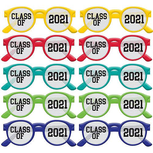 Multicolor Class of 2021 Printed Plastic Glasses, 10ct Image #1