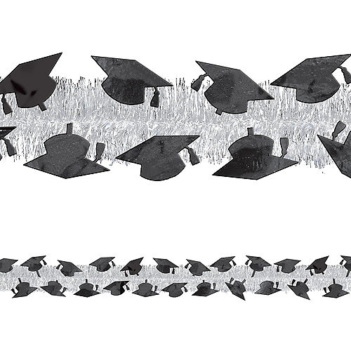 Silver Graduation Tinsel Garland Image #1