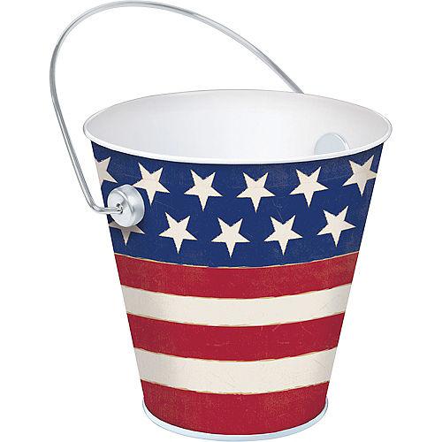 Patriotic American Flag Metal Pail - Rustic Americana Image #1