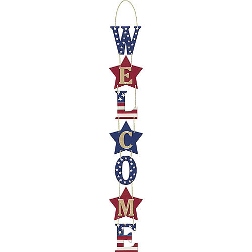 Patriotic Stacked Welcome Sign - Rustic Americana Image #1