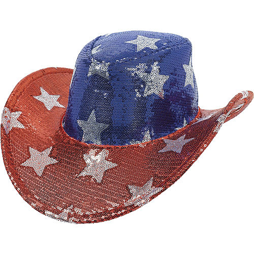 Sequin Stars Patriotic Cowboy Hat Image #1