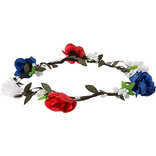 Patriotic Red, White & Blue Floral Headwreath Image #1