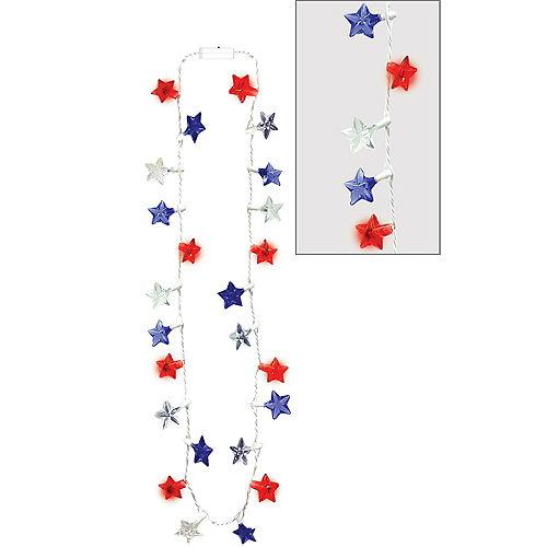 Light-Up LED Patriotic Red, White & Blue Star Necklace Image #1