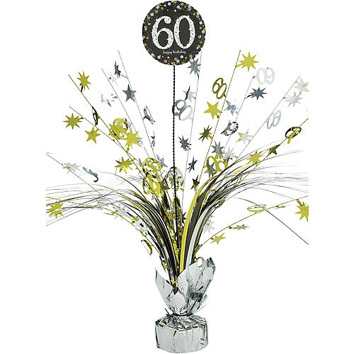60th Birthday Spray Centerpiece - Sparkling Celebration Image #1