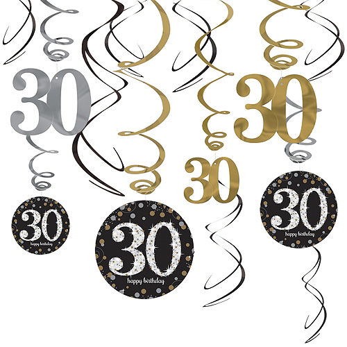 30th Birthday Swirl Decorations 12ct - Sparkling Celebration Image #1