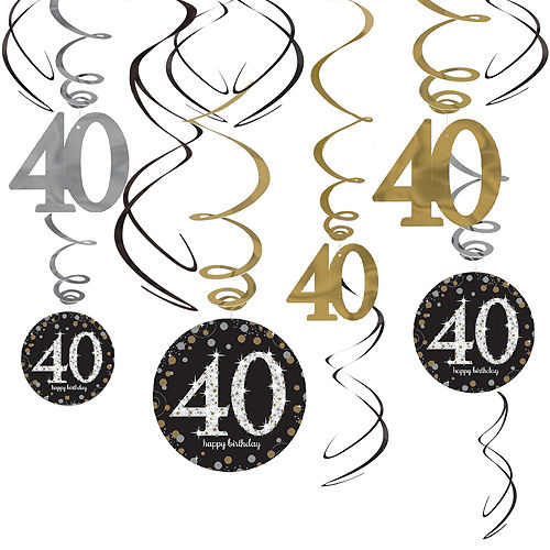40th Birthday Swirl Decorations 12ct - Sparkling Celebration Image #1