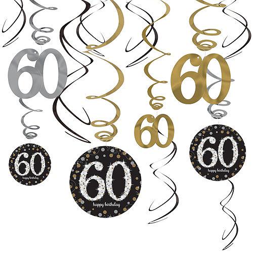 60th Birthday Swirl Decorations 12ct - Sparkling Celebration Image #1