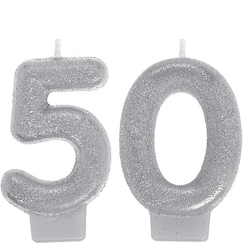 Glitter Silver Number 50 Birthday Candles 2ct Image #1