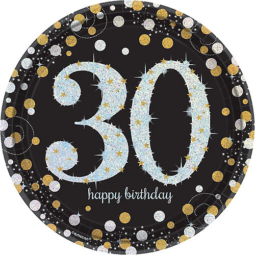 Prismatic 30th Birthday Lunch Plates 8ct - Sparkling Celebration Image #1