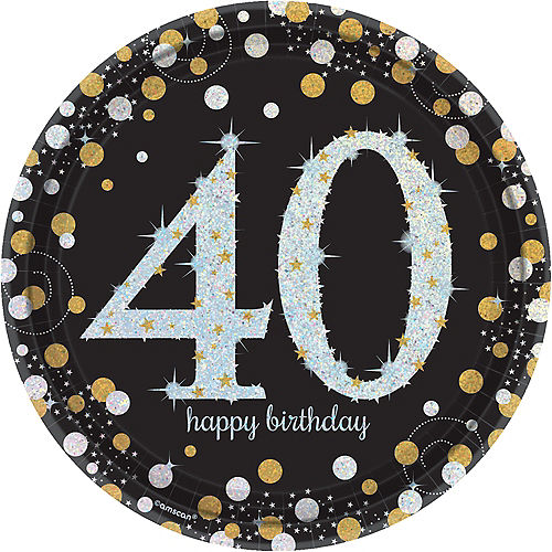 Prismatic 40th Birthday Lunch Plates 8ct - Sparkling Celebration Image #1