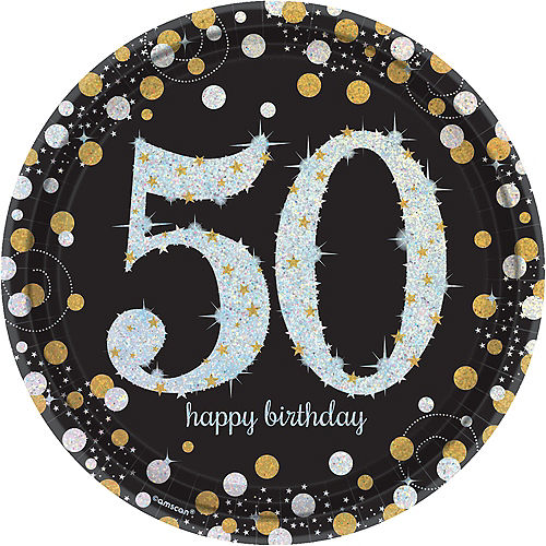 Prismatic 50th Birthday Lunch Plates 8ct - Sparkling Celebration Image #1