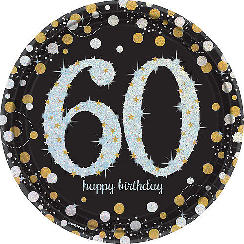 Prismatic 60th Birthday Lunch Plates 8ct - Sparkling Celebration Image #1