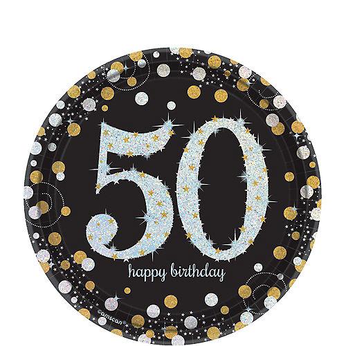 Prismatic 50th Birthday Dessert Plates 8ct - Sparkling Celebration Image #1