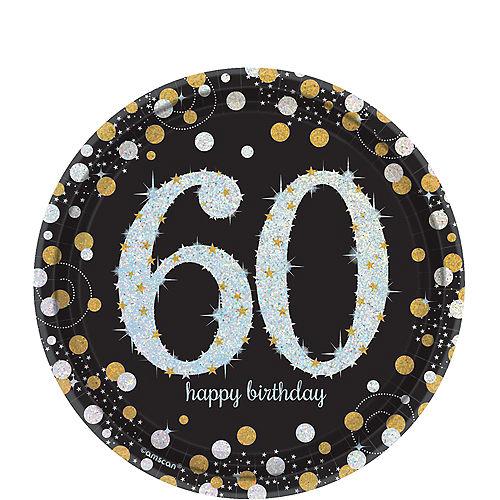 Prismatic 60th Birthday Dessert Plates 8ct - Sparkling Celebration Image #1